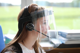 Mask with protective visor used with headset for offices